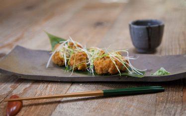 カラっと揚がってフワフワ食感!アスパラと筍の豆腐寄せ