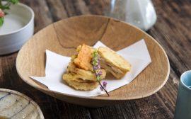 旬のタケノコを天ぷらに! 若鶏と筍のはさみ揚げ