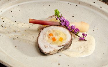 谷中生姜の酢漬けとイサキのポテト巻き