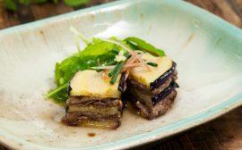 スタミナがつく夏料理 ナスと牛肉の重ね揚げ